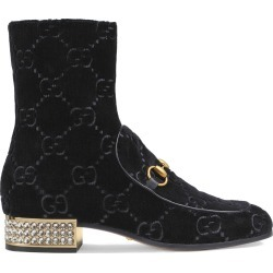 Gucci Horsebit GG velvet boots with crystals - Black found on MODAPINS from FarFetch.com- UK for USD $1363.07