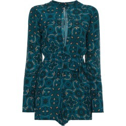 A Peace Treaty Aveiro Keyhole Printed Playsuit - Green found on MODAPINS from FARFETCH.COM Australia for USD $164.40