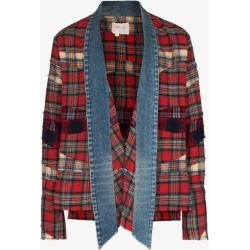 Greg Lauren Mens Red Mixed Plaid Denim Kimono Jacket found on MODAPINS from Browns Fashion for USD $1421.94