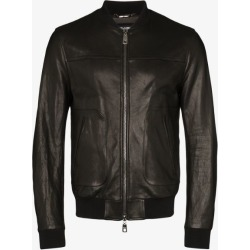 Dolce & Gabbana Mens Black Logo Plaque Leather Bomber Jacket found on Bargain Bro UK from Browns Fashion