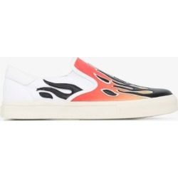 Amiri Mens Orange Multicoloured Flame Print Low Top Leather Sneakers found on Bargain Bro UK from Browns Fashion