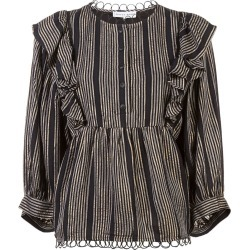 Apiece Apart stripe ruffle flared blouse - Black found on MODAPINS from FarFetch.com - US for USD $200.00