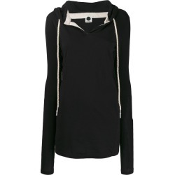 Bassike longline drawstring hoodie - Black found on MODAPINS from FARFETCH.COM Australia for USD $171.82