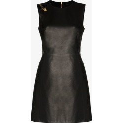 Versace safety-pin sleeveless leather dress