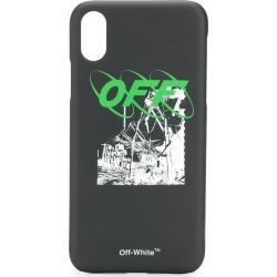 Off-White logo print iPhone X case - Black