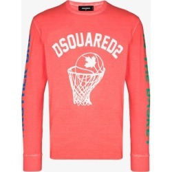 Dsquared2 Mens Pink Basketball Logo Long Sleeve T-shirt found on MODAPINS from Browns Fashion for USD $365.27