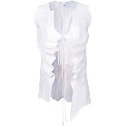 Aganovich drawstring sheer waistcoat - White found on MODAPINS from FarFetch.com- UK for USD $1082.65