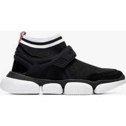 Moncler Womens 999 Black Black Velcro Suede Trim Sock Sneakers found on Bargain Bro UK from Browns Fashion