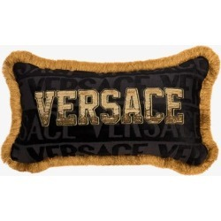Versace Womens Black Sequinned Logo Cushion found on Bargain Bro UK from Browns Fashion