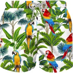 MC2 Saint Barth Parrots Print Boys Swimshorts