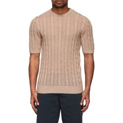 Eleventy Sweater Eleventy Platinum Crewneck Sweater In Cotton And Linen With Faded Braid found on MODAPINS from Italist for USD $302.19