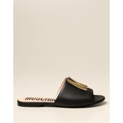 Moschino Couture Flat Sandals Moschino Couture Flat Sandal In Leather With Logo found on Bargain Bro UK from Italist