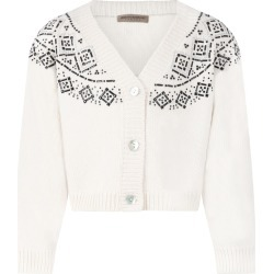 Ermanno Scervino Junior Ivory Cardigan For Girl With Rhinestones found on MODAPINS from italist.com us for USD $312.95