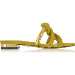 Charlotte Olympia Thalia Olive Green Suede And Gold Metallic Leather Slide Sandals found on MODAPINS from italist.com us for USD $516.99