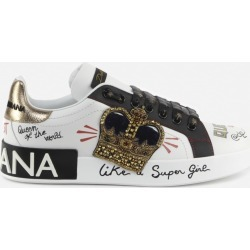 Dolce & Gabbana Portofino Sneakers In Leather With Decorations found on Bargain Bro UK from Italist