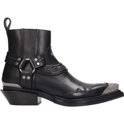 Balenciaga Santiag Herness Texan Ankle Boots In Black Leather
