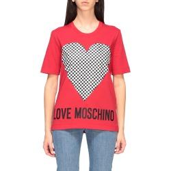 Love Moschino T-shirt Love Moschino Short-sleeved T-shirt With Micro Checkered Heart