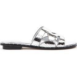 MICHAEL Michael Kors Silver Annalee Textured Metallic Leather Slide found on Bargain Bro UK from Italist