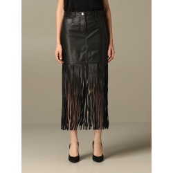 Boutique Moschino Skirt Moschino Boutique Mini Skirt In Leather With Fringes found on MODAPINS from Italist for USD $808.96