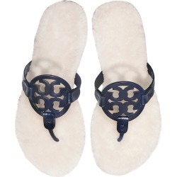 Tory Burch Perfect Navy Shearling Miller Flip Flop W/metal Logo found on Bargain Bro UK from Italist