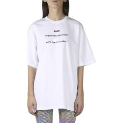 MSGM White Cotton T Shirt With Lettering Print found on Bargain Bro UK from Italist