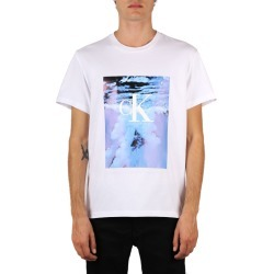 Calvin Klein Jeans Multicolor Print White Cotton T-shirt found on MODAPINS from Italist for USD $92.45