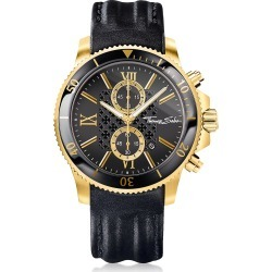 Thomas Sabo Rebel Race Gold Stainless Steel Mens Chronograph Watch W/black Leather Strap found on Bargain Bro India from italist.com us for $403.26