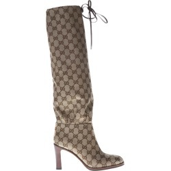 Gucci Gg Supreme Beige & Emoby Over-the-knees Boots found on MODAPINS from Italist Inc. AU/ASIA-PACIFIC for USD $1127.81