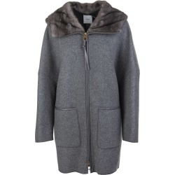 Agnona Woman Coat In Grey Cashmere With Fur found on MODAPINS from Italist for USD $3058.16