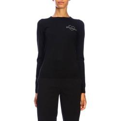 Love Moschino Sweater Tight-fitting Long-sleeved Sweater With Love Moschino Mini Rhinestone Logo