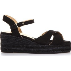 Castañer Black Cotton Crossed Sandals found on MODAPINS from Italist for USD $128.03