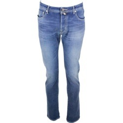 Jacob Cohen Natural Indigo 5-pocket Stretch Denim Jeans With Buttons And Stitching In Contrasting Color found on MODAPINS from Italist for USD $367.94