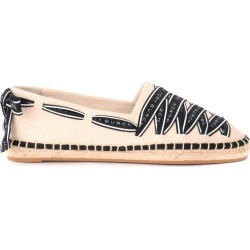 Tory Burch Grosgrain Espadrilles In Ivory With Black Logoed Ribbon found on Bargain Bro UK from Italist