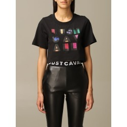 Just Cavalli T-shirt Just Cavalli Cropped T-shirt With Lurex Logo found on MODAPINS from italist.com us for USD $186.29