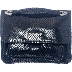 Marc Ellis Rhonda M Shiny Shoulder Bag In Black Leather found on MODAPINS from Italist for USD $195.21