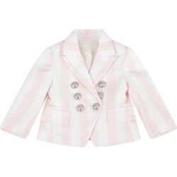 Balmain Pink And White Jacket For Baby Girl