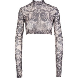 Philipp Plein new Baroque Stretch Printed Tulle Long Sleeve Top found on Bargain Bro UK from Italist