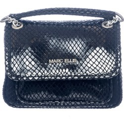 Marc Ellis Rhonda S Shiny Shoulder Bag In Black Leather found on MODAPINS from Italist for USD $175.51