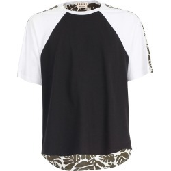 Marni Cotton Jersey Eyed Leaves Printed Poplin T-shirt S/s