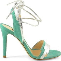 Pinko Aqua Green Suede And Silver Printed Leather High Heel Sandals found on Bargain Bro UK from Italist
