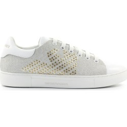 Emporio Armani White Leather Gold Studs Sneaker found on Bargain Bro UK from Italist