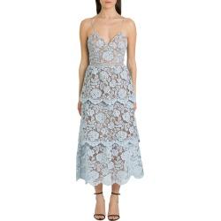 self-portrait Flower Lace Midi Tired Dress