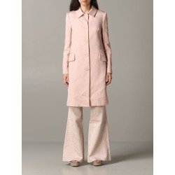 Blumarine Coat Blumarine Brocade Coat With Rose Print found on MODAPINS from Italist for USD $2613.30