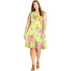 Just My Size JMS Textured Fit & Flare Dress Pale Yellow Floral XL Women's found on Bargain Bro Philippines from JustMySize for $15.98