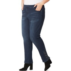 Just My Size JMS 4 Pocket Pull On Jeans with Eyelets & Criss-Cross Detail Indigo Lace Up 1X Women's found on Bargain Bro India from JustMySize for $27.98