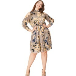 Just My Size JMS Smocked Cold Shoulder Dress Taupe Floral 3X Women's found on Bargain Bro Philippines from JustMySize for $34.98