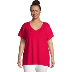 Just My Size JMS Short Sleeve Flowy V-Neck T-Shirt Best Red 1X Women's found on Bargain Bro from JustMySize for USD $12.16