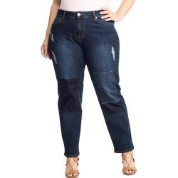 Just My Size JMS Patchwork Boyfriend Jeans Dark Denim 26W found on Bargain Bro India from JustMySize for $33.00