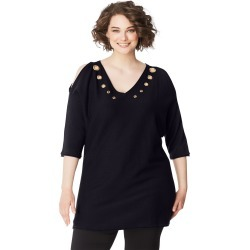 Just My Size JMS Grommeted Cold Shoulder Sweater Black 2X Women's found on Bargain Bro India from JustMySize for $24.00