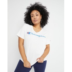 Champion Women's Athletics Plus Jersey V-Neck Tee, Script Logo White 4XL found on Bargain Bro from JustMySize for USD $16.72